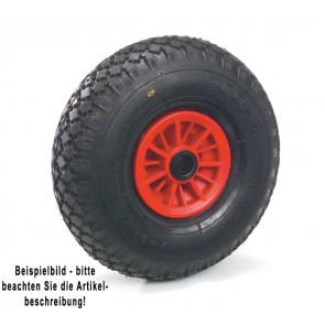 Fetra PU-geschäumtes Rad 400 x 100 mm Stahlblech-Felge rot - Blockprofil