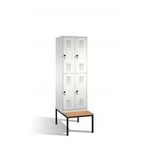Doppelstockspind Evolo mit Sitzbank, 4 Fächer, H2090xB600xT500/815mm