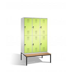 Doppelstockspind Evolo mit Sitzbank, 6 Fächer, H2090xB1200xT500/815mm