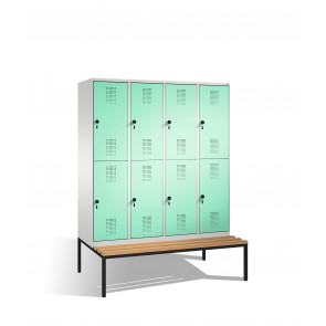 Doppelstockspind Evolo mit Sitzbank, 8 Fächer, H2090xB1600xT500/815mm