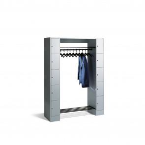 Offene Garderobe mit Schließfächern für 10 Personen, H1950xB1430xT480mm