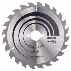 Bosch Kreissägeblatt Optiline Wood für Handkreissägen, 200 x 30 x 2,8 mm, 24
