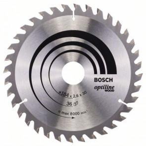 Bosch Kreissägeblatt Optiline Wood für Handkreissägen, 184 x 30 x 2,6 mm, 36