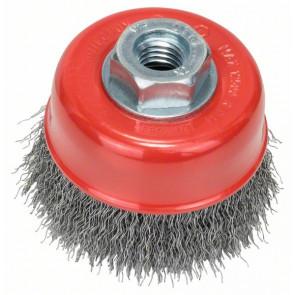 Bosch Topfbürste, Stahl, gewellter Draht, 100 mm, 0,5 mm, 12500 U/ min, M 14