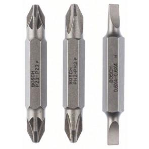 Bosch Doppelklingen-Set, 3-teilig, S0,6x4,0, S0,6x4,0, PH2, PH2, PZ2, PZ2, 45 mm