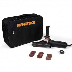 Arbortech Mini Carver Schleif-/Schnitzwinkelschleifer mit Schleifteller, Industrial Blade und Transporttasche